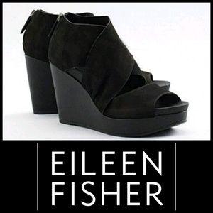 EILEEN FISHER Draw Wedge Sandals 8.5